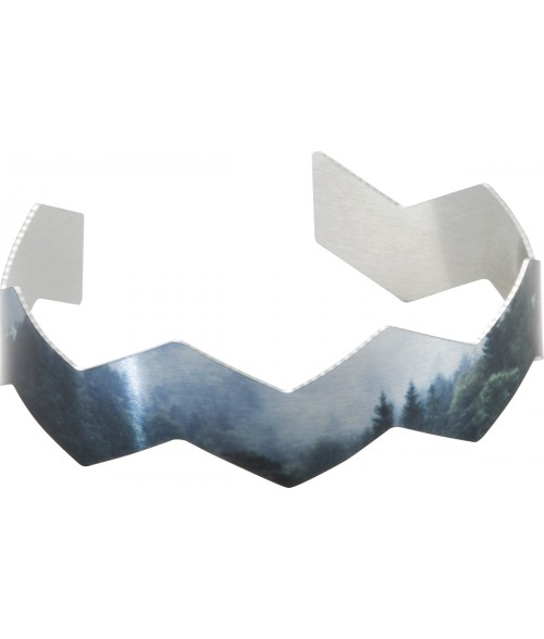 "Unisub Silver 3/4"" x 6-1/2"" Chevron Cuff Bracelet"
