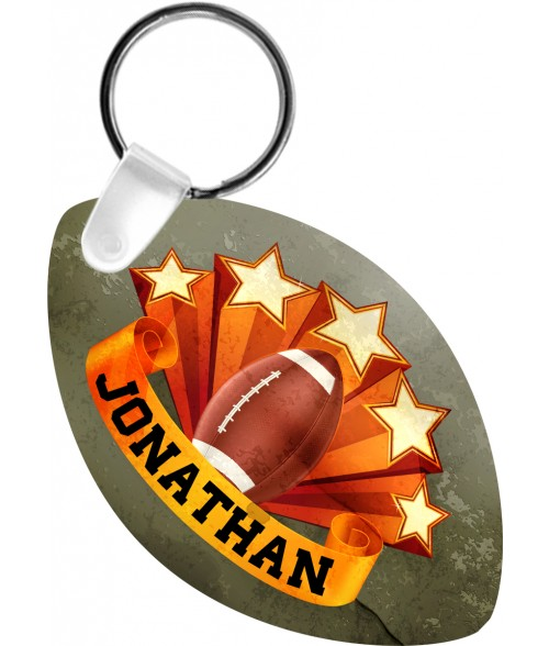 "Unisub Gloss White 3"" x 1-7/8"" 2-Sided FRP Football Key Chain"