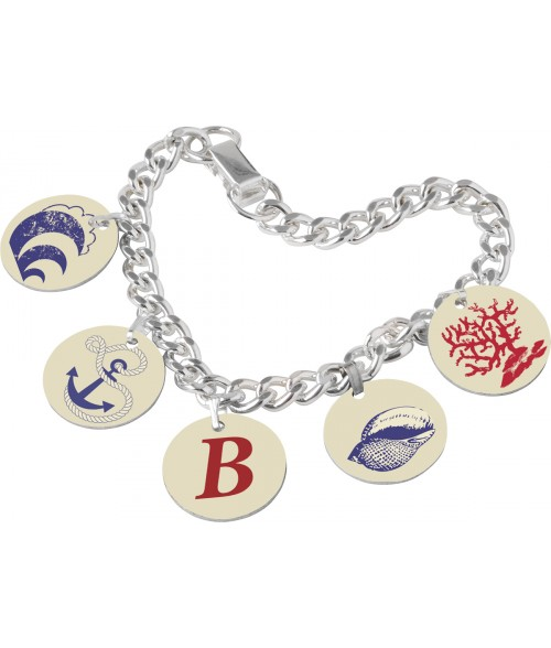 "Unisub 7-1/2"" Charm Bracelet with Five 3/4"" Round Charms and Bales"