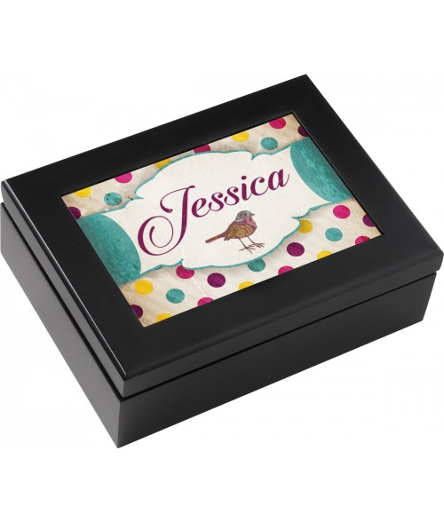 "Unisub Black 6"" x 8"" Jewelry Box"