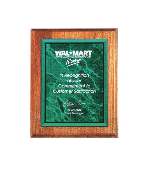 """Green 7"""" x 10"""" Acrylic Marble Plaque Plate"""