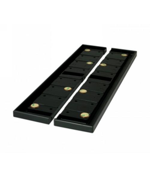 "Rowmark Portico Black Sapphire 3"" x 18"" Square Modular Directory Poly Frame Ends (2/Pkg)"
