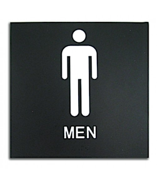 "Rowmark Presto Black 8"" x 8"" Mens Restroom Ready Made ADA Sign"