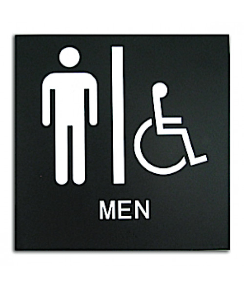 "Rowmark Presto Black 8"" x 8"" Mens Handicap Accessible Restroom Ready Made ADA Sign"