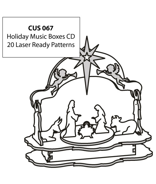 LaserBits CorelDRAW Design Patterns (Holiday Music Boxes)