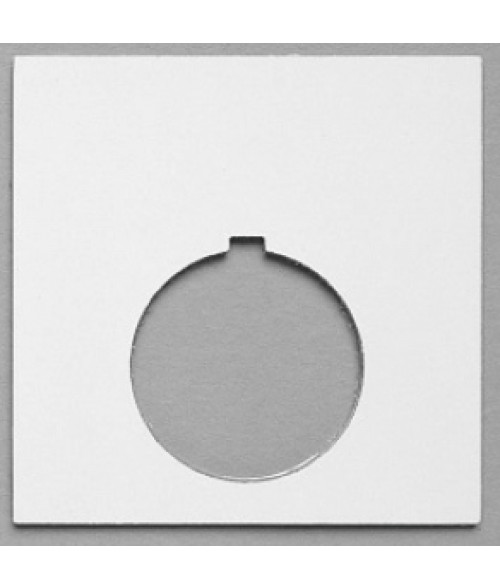 "Satin White/Black 2-7/16"" x 2-7/16"" Plastic Push Button Plate with 1-7/32"" Hole"
