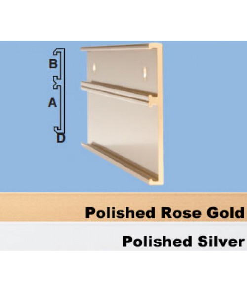 "JRS Polished Silver #115 Multiple Wall Bracket (one 1"" x 8"" x 1/16"" Slot and one 2"" x 8"" x 1/16"" Slot)"