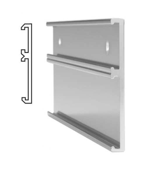 """JRS Polished Silver #115 Multiple Wall Bracket (one 1"""" x 8"""" x 1/16"""" Slot and one 2"""" x 8"""" x 1/16"""" Slot)"""