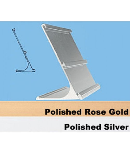 "JRS Polished Silver #23 Multiple Sign Holder (Top Slot 1-1/2"" x 8"" x 1/16"" and Bottom Slot 2"" x 8"" x 1/16"")"