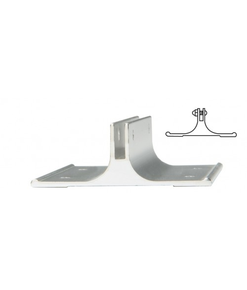 "JRS Polished Silver 2"" #38 Corridor Wall Bracket with 1/8"" Slot"
