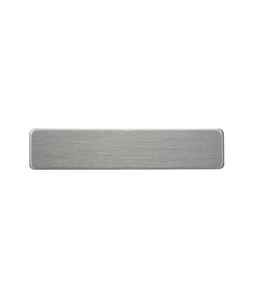 "Satin Silver 1/2"" x 2-3/8"" Premium Metal Name Tag with Pinback"