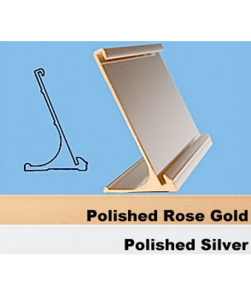 "JRS Polished Rose Gold 1-1/2"" x 8"" #70 Desk Holder for 1/16"" Thick Material"