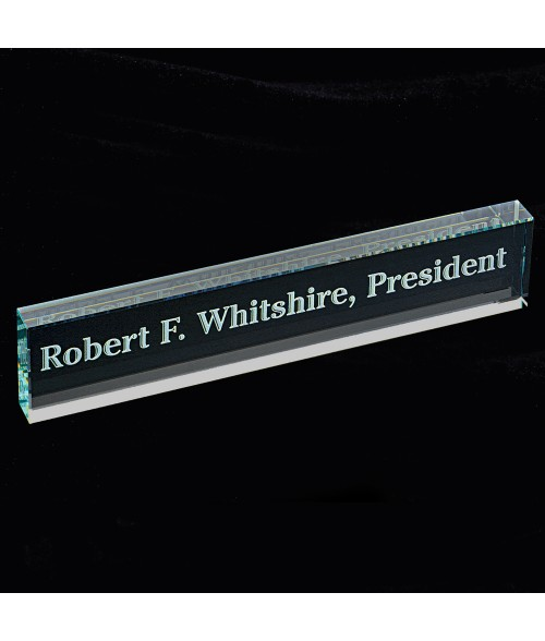 Beveled Edge Glass Name Bar