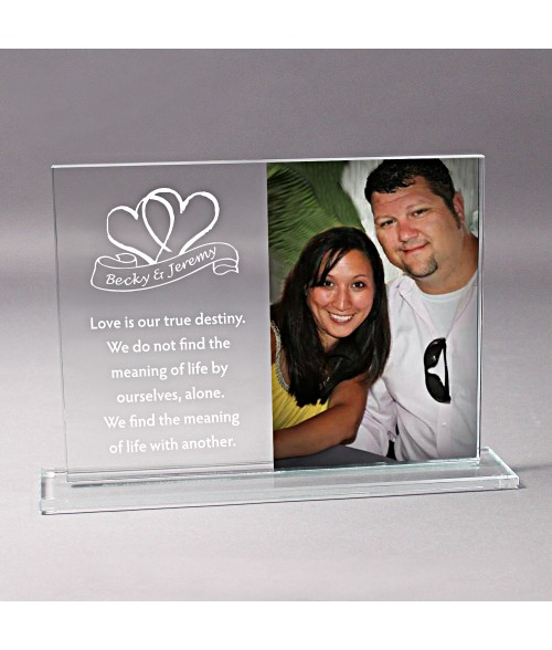 "10"" x 7-1/4"" Glass Photo Stand (Holds 5"" x 7"" Vertical Photo)"