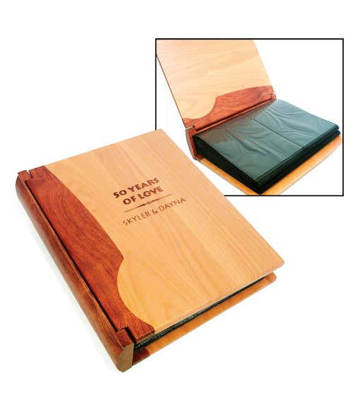 "LaserBits 7-5/8"" x 9-1/8"" Maple & Rosewood Photo Album (Holds 200 4"" x 6"" Photos)"