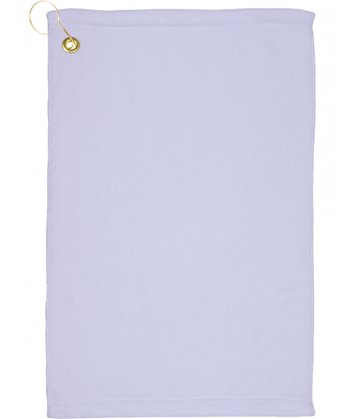 "White 15"" x 22"" Microfiber Velour Towel with Grommet and Hook"