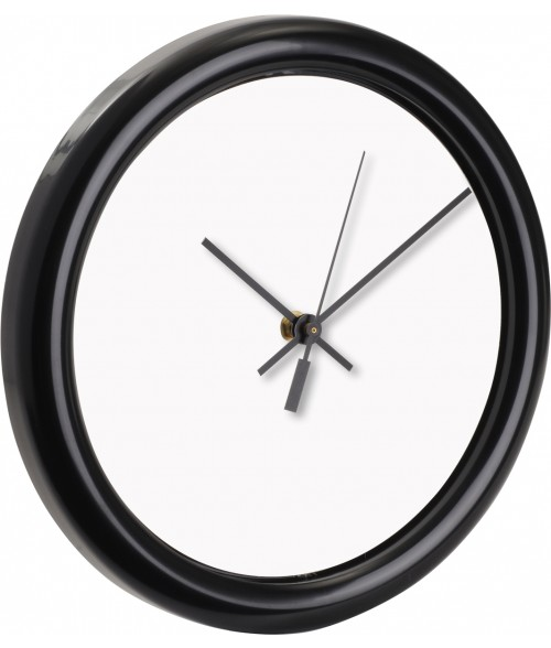 "Unisub Black 10"" Round Wall Clock with 8-1/8"" Hardboard Insert"