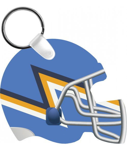 "Unisub Gloss White 2-3/8"" x 2-3/4"" 2-Sided Aluminum Football Helmet Key Chain"