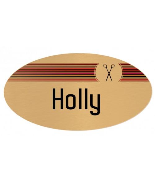 """Unisub Gloss Brushed Gold 1-1/2"""" x 3"""" Aluminum Oval Name Badge"""