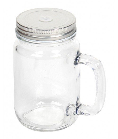 Clear Glass Mason Jar With Handle And Lid