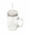 Clear Glass Mason Jar With Handle, Lid And Straw
