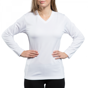 e2bd046f8c98 Vapor Ladies White Eco Running Long Sleeve V Neck Tee (2X)