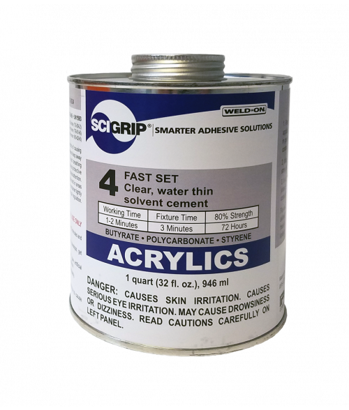 Weld on scigrip 4 liquid solvent for bonding acrylics for Plaque ondulee polycarbonate transparent