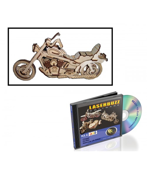 LaserBits LaserBuzz Design Patterns (3D Motorcycles)