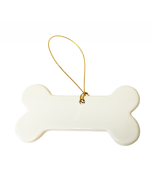 Porcelain dog bone ornament ornaments home office for Dog bone ornaments craft