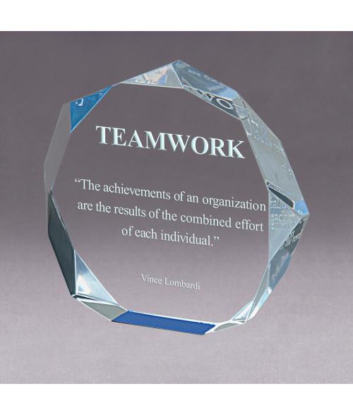Blue Acrylic Octagon Bevel Impress Award