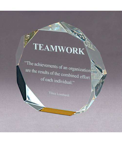 Gold Acrylic Octagon Bevel Impress Award