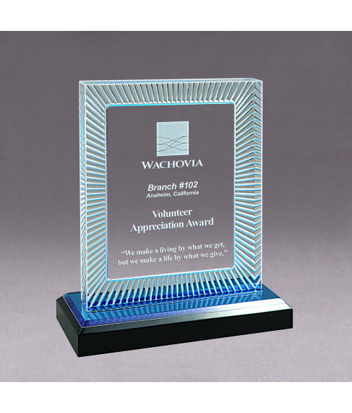 Blue Acrylic GEO Rectangle Impress Award