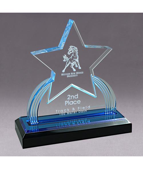 Blue Acrylic GEO Star Impress Award