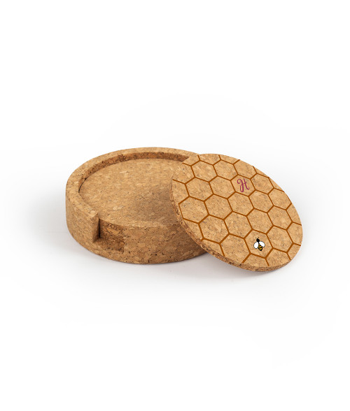 Circular Cork Coaster Set