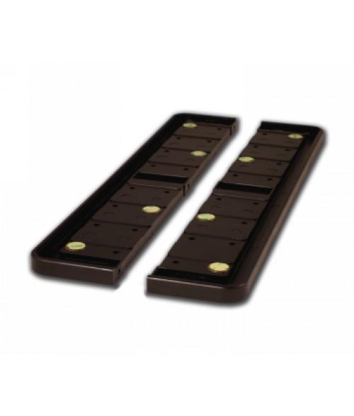 "Rowmark Portico Cocoa 3"" x 18"" Round Modular Directory Poly Frame Ends (2/Pkg)"
