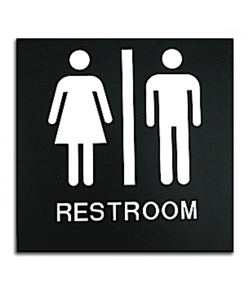 "Rowmark Presto Black 8"" x 8"" Unisex Restroom Ready Made ADA Sign"