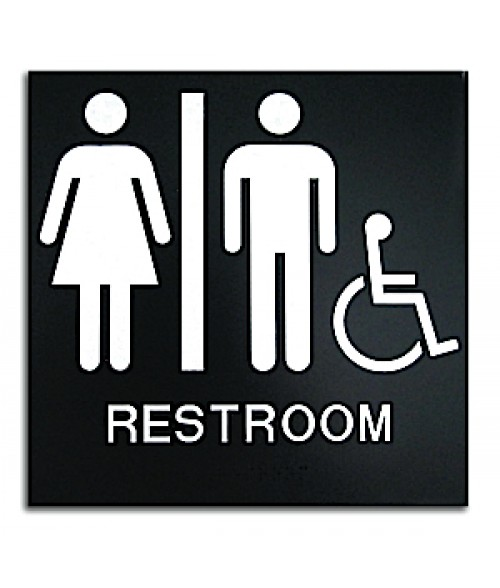 "Rowmark Presto Black 8"" x 8"" Unisex Handicap Accessible Restroom Ready Made ADA Sign"