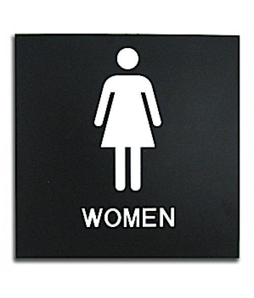 "Rowmark Presto Black 8"" x 8"" Womens Restroom Ready Made ADA Sign"