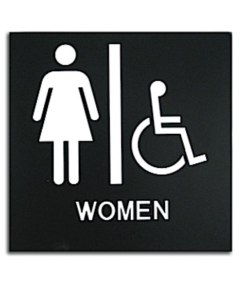 "Rowmark Presto Black 8"" x 8"" Womens Handicap Accessible Ready Made ADA Sign"