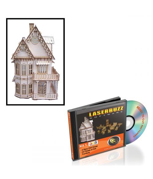 LaserBits LaserBuzz Design Patterns (3 Story Doll House)