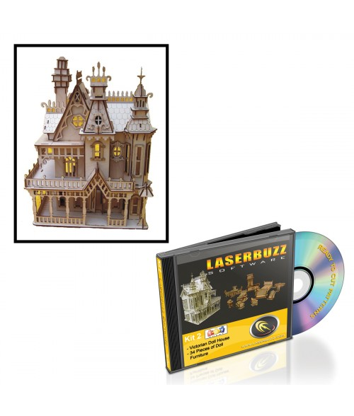 LaserBits LaserBuzz Design Patterns (Victorian Doll House & Furniture)