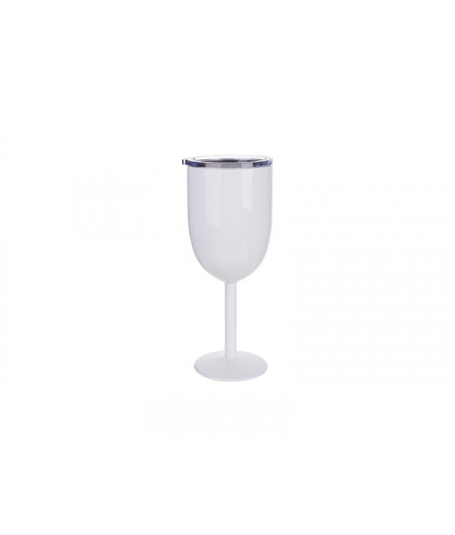 White 11oz Stainless Steel Wine Glass