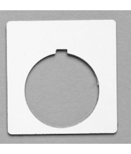 "Satin White/Black 1-3/4"" x 1-3/4"" Plastic Push Button Plate with 1-7/32"" Hole"