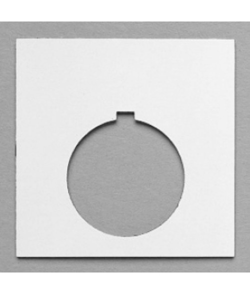 "Satin White/Black 1-11/16"" x 1-11/16"" Plastic Push Button Plate with 7/8"" Hole"