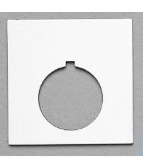"Satin White/Black 2-1/4"" x 2-1/4"" Plastic Push Button Plate with 1-7/32"" Hole"