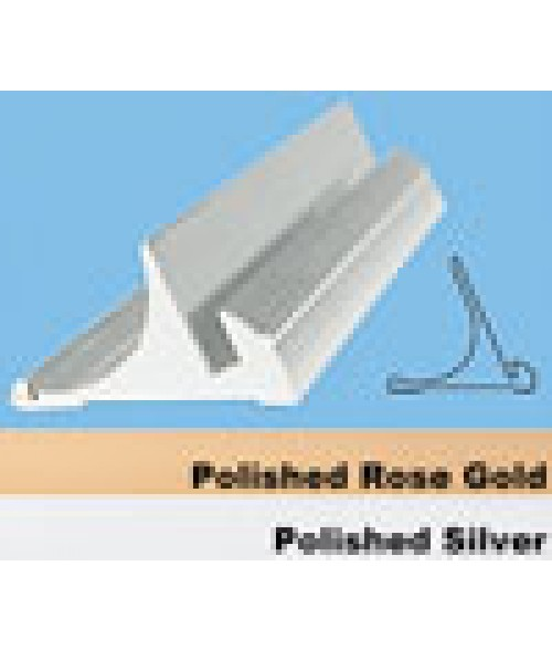 """JRS Polished Rose Gold 8"""" #15 Desk Base with 1/16"""" Slot"""