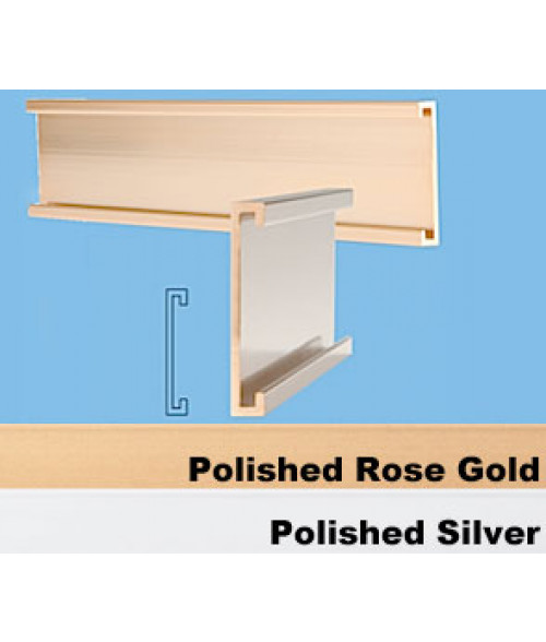 "JRS Polished Rose Gold 1"" x 6"" #28 Wall Holder for 1/16"" Thick Material"