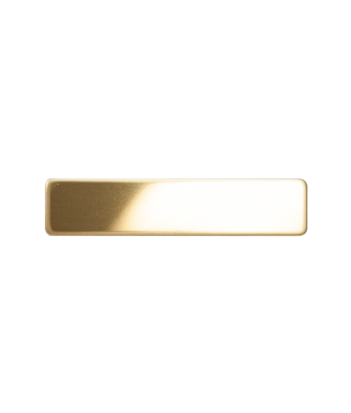 "Glossy Gold 1/2"" x 2-3/8"" Premium Metal Name Tag with Pinback"