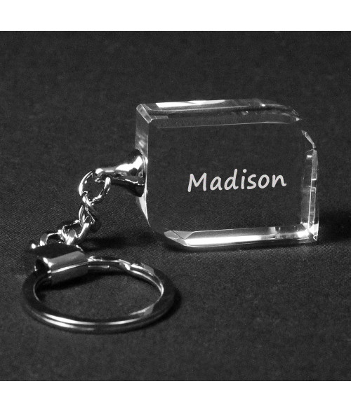 Angle-Facet Crystal Keychain