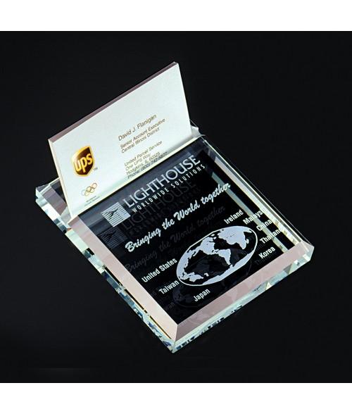 Beveled Edge Glass Business Card Holder